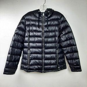 Andrew Marc Down Puffer Jacket Zip Up Coat Black L